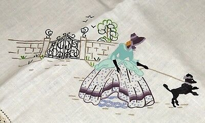 Crinoline Lady Poodle Tablecloth Painted Linen To Embroider Stamped Crochet Edge