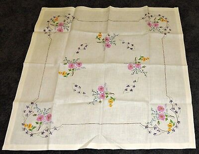 Retro Tablecloth Ecru Painted Pure Linen To Embroider Pink Yellow Purple Flowers