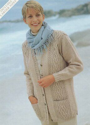 Ladies Knitting Pattern copy Cables Long Line Cardigan Jacket with Pockets