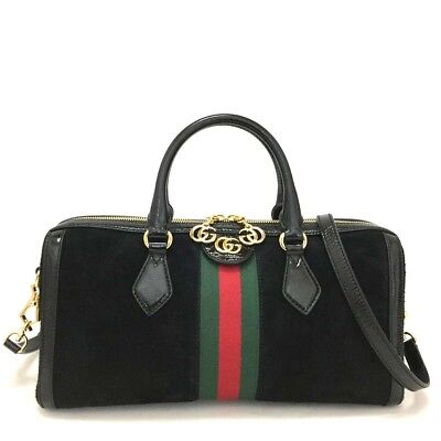 4c3b49f19c9 New GUCCI Ophidia Medium Top Handle Webbing Leather Bowling 2way Bag  3507