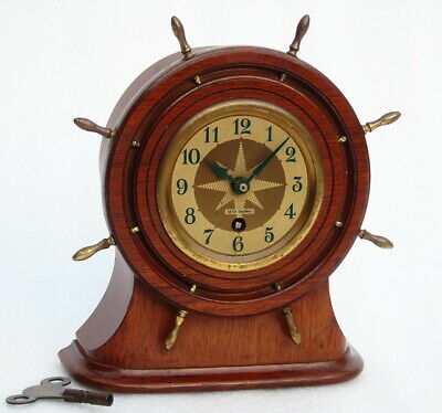 Vintage Seth Thomas Usa Marine Ships Boat Yacht Navigation Mantle Winding Clock