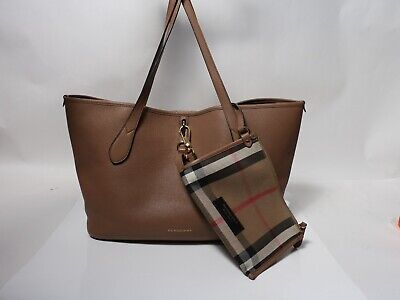 fcff5fc4d1c9 AUTHENTIC BLACK BURBERRY - House Check Soft Leather Big Crush Tote ...