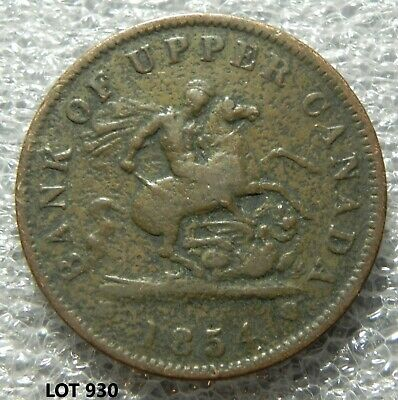 1854 Bank Of Upper Canada-One Penny-Dragon Slayer-Token Coin-Lot 930
