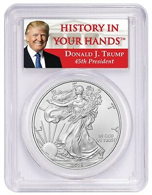 2019 1 oz Silver Eagle PCGS MS70 First Day Trump Label