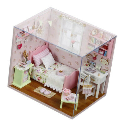 1:24 DIY Wooden Doll Houses Miniature Furniture Kit Gift - Bedroom Model Toy