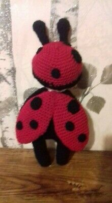 Handmade crocheted Ladybird Doll, 7 inches tall, black and red