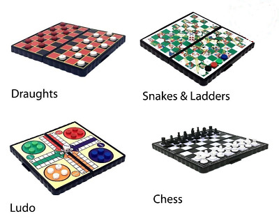 Magnetic Travel Board Games set of 4 Chess, Snake & Ladders, Ludo, Draught