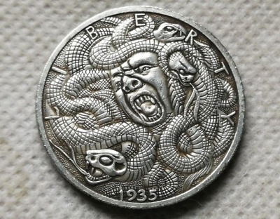 Morgan Dollar 1935 Skull Zombie Skeleton Hobo Coin Collectible Free Shipping