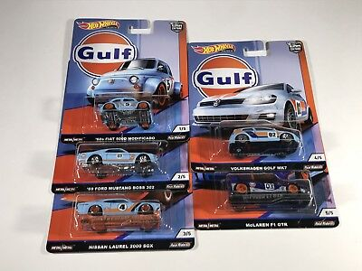 "2019 Hot Wheels ""Gulf"" Car Culture Premium Set of 5 Cars Mint on Card $34.95 OBO"