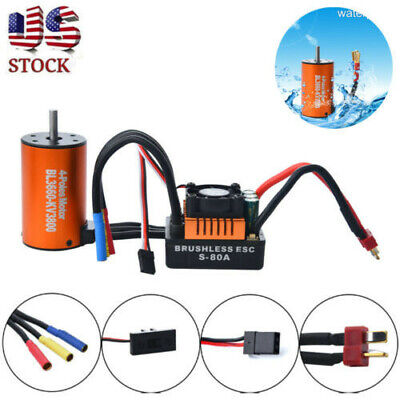 Waterproof BL3660 3800KV 4 Poles Brushless Motor W/80A ESC Combo For 1/10 RC Car