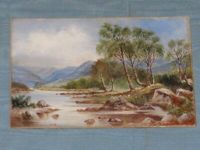 1908 Signed Wallace Dykes Landscape Oil Painting On Board