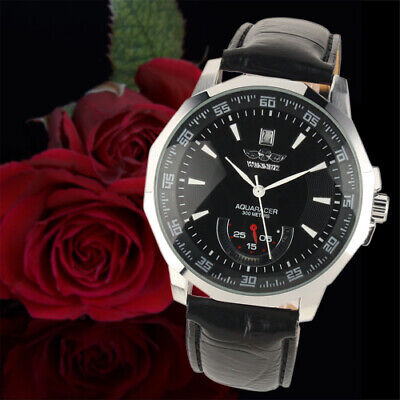 Mens Watch Automatic Mechanical Black Dial Leather Date Analog Display Luxury