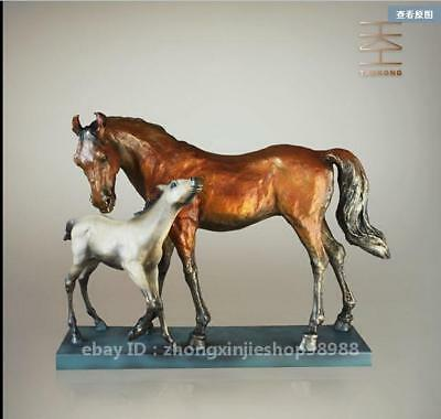 West Art Deco Sculpture Mother and child Horse Bronze marble Statue Figurine