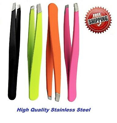Eyebrow Tweezers Slanted Tip Puller, Plucker, Hair Remover, Stainless Steel