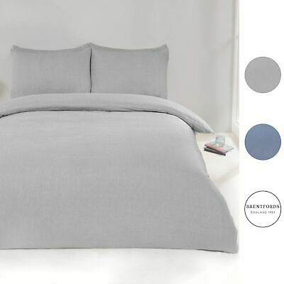 Brentfords Chambray Duvet Cover with Pillow Case Bedding Set, Denim Blue Grey
