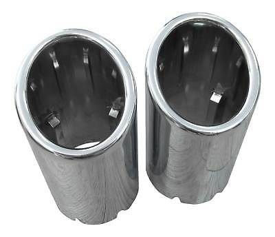 2x Premium Stainless Steel Tail Pipes Exhaust Genuine Quality 3 1/16-3 5/16in
