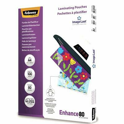 Fellowes A4 Gloss Laminating Pouch 160 micron (2 x 80) Pack of 100 Pouches