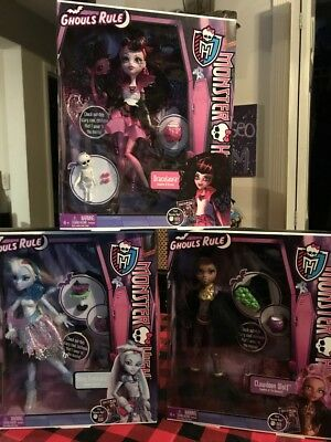 New In Box Monster High Ghouls Rule Dolls Abbey Draculaura Clawdeen