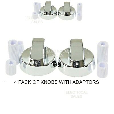 8 X SILVER KNOBS FOR ELECTROLUX OVEN//HOB//COOKER WITH ADAPTORS /& INSTRUCTIONS