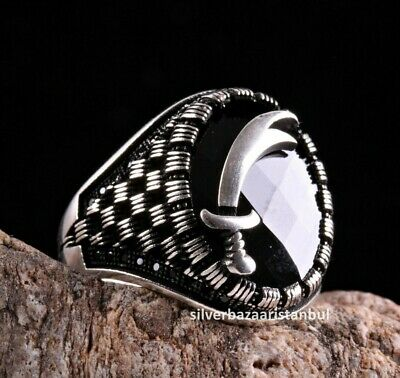 Turkish 925 Sterling Silver SWORD black onyx stone mens man ring ALL SİZE us