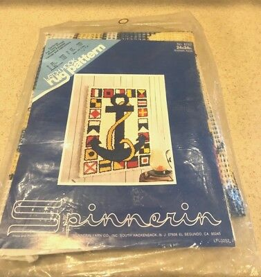 """Vgt Spinnerin Latch Hook Rug """"Anchors Away""""  Pattern Canvas Only 24 x 34 Inches"""