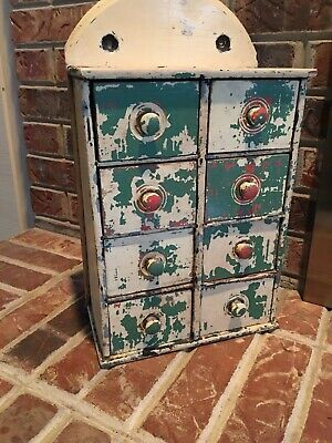 "Antique 8 Drawer Spice Cabinet In Old Paint, ""Coat of Many Colors"""