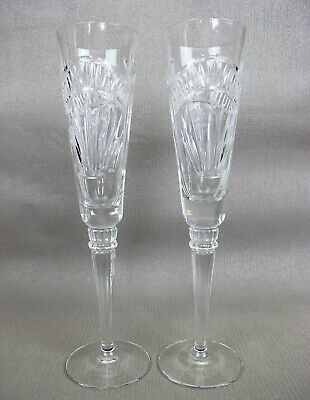 """Superb cut crystal glass pair of LENOX USA CHAMPAGNE FLUTES GLASSES. 150 ml 10"""""""