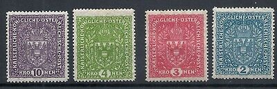 Austria 1917 -  coat of arms - HIGH VALUES - Faserpapier MH
