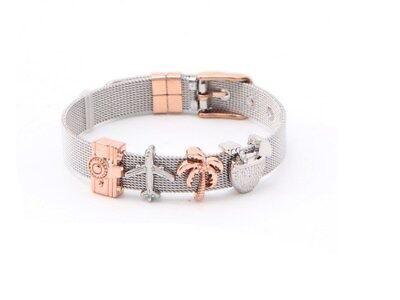Stainless Steel Mesh Women Bracelet with Slide Charms Silver Rose