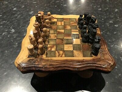 Hand made Vintage Wooden Chess Set With Piece Drawers