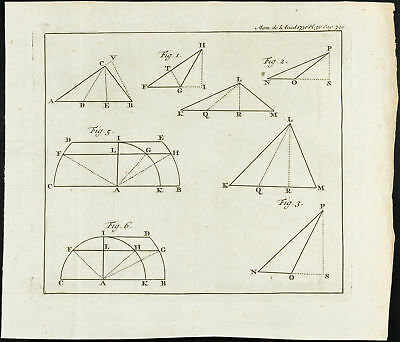 1777 - Mathematics Engraving hyperbole - Academy Royal of Sciences