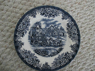 Royal Stafford Blue & White Coach Buggy Scene Salad Plate About 8""