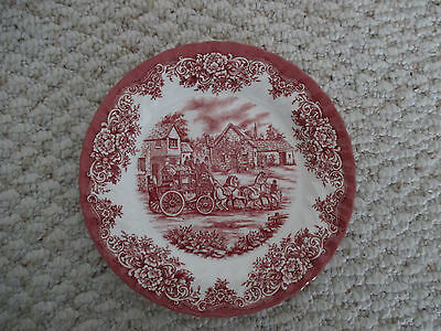 Royal Stafford Red & White Coach Buggy Scene Salad Plate About 8""