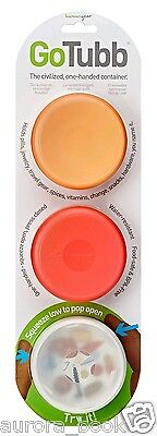 Go Tubb 3 Pack One Handed Travel Containers Medium Red/Orange/Clear WA56079