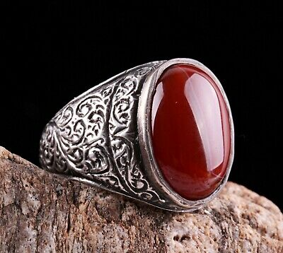 Original Yemeni Agate Aqeeq Stone Turkish Jewelry 925 Sterling Silver Men Ring14