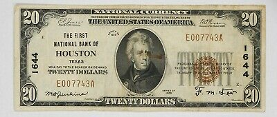 Series 1929 T1 $20 First National Bank Houston Tx Vf Stained Portrait (743A)