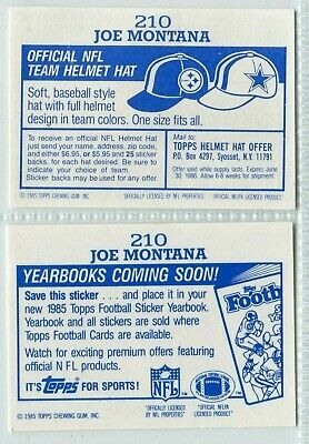 NOT COMING SOON & Coming Soon 1985 Topps Stickers #210 Joe Montana
