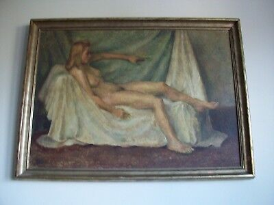 English School Portrait of a Reclining Nude.   Mid 20th Century Oil Painting.