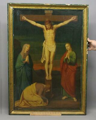 Antique Religious Crucifix Oil Painting 12th Station, Jesus Dies on Cross, NR