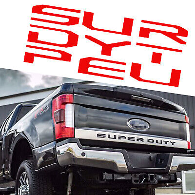 2017-2018 Ford F250 F350 F450 Super Duty Tailgate Decal Brushed Aluminum RED