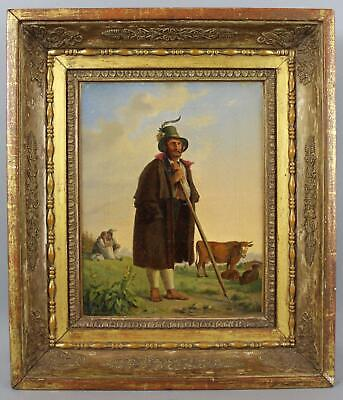 19thC Antique Italian Genre Oil Painting, Shepherd, Cow & Courting Couple