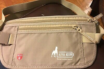 New NWOT Alpha Keeper Money Belt For Travel With RFID Blocking / Tan / T2