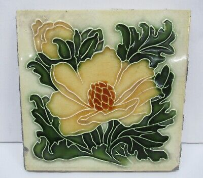 Pilkington Art Nouveau Embossed Majolica Floral Peony Magnolia Antique Tile 1894