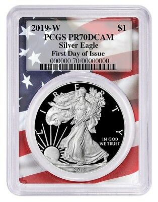 2019-W 1 oz Proof American Silver Eagle PCGS PR70DCAM First Day Flag Frame FDOI