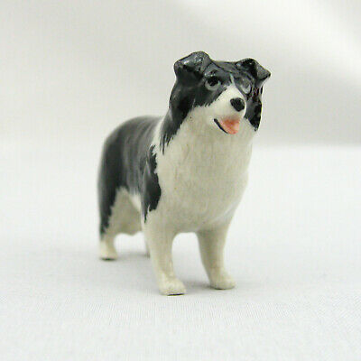 Dog Border Collie Black and White Porcelain Hand Painted Miniature
