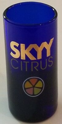 Skyy Citrus Vodka Advertising Shot Glass Cobalt Blue Bar Barware Liquor !!!