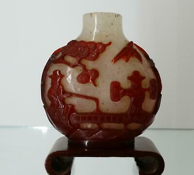 Authentic Antique Chinese Red Glass Overlay Snuff Bottle~18th/19th~Qing Dynasty