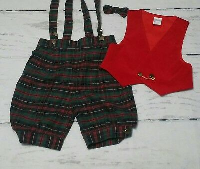 Vintage Bryan Baby Boy Outfit Knickers, Vest, Bowtie Boy's 24 months
