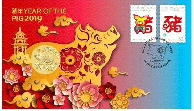 Australia  2019  LUNAR YEAR OF THE PIG $1 coin. PNC / FDC