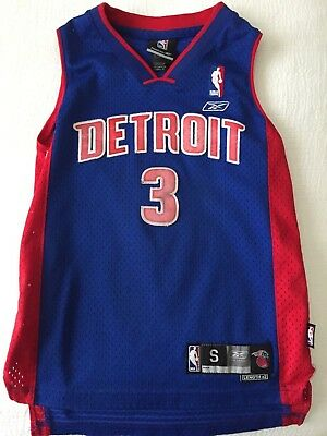 Ben Wallace Detroit Piston Throwback Reebok Authentic Youth Small Jersey 1803715dc